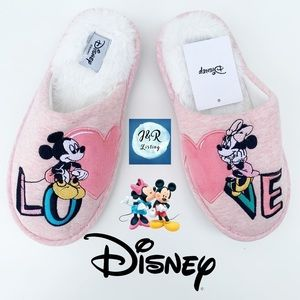 Disney Mickey & Minnie Mouse fluffy Pink Slippers